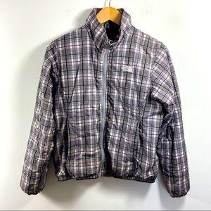 North Face Purple Gray Plaid Zip Puffer Jacket